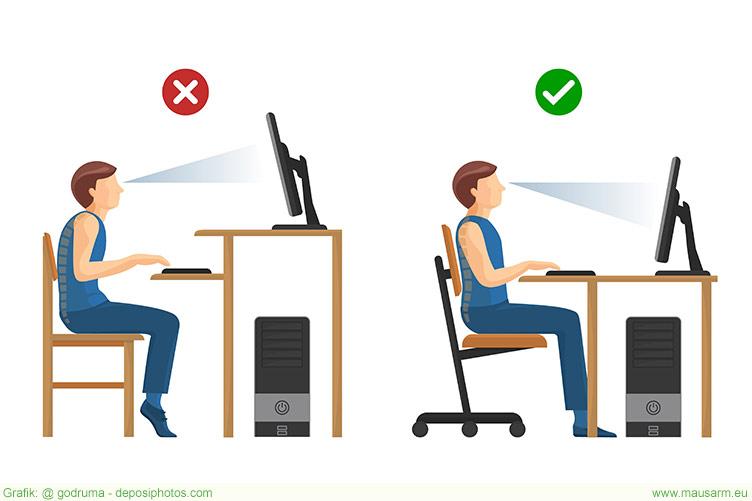 Ein ergonomischer Arbeitsplatz hilft beim Mausarm vorbeugen